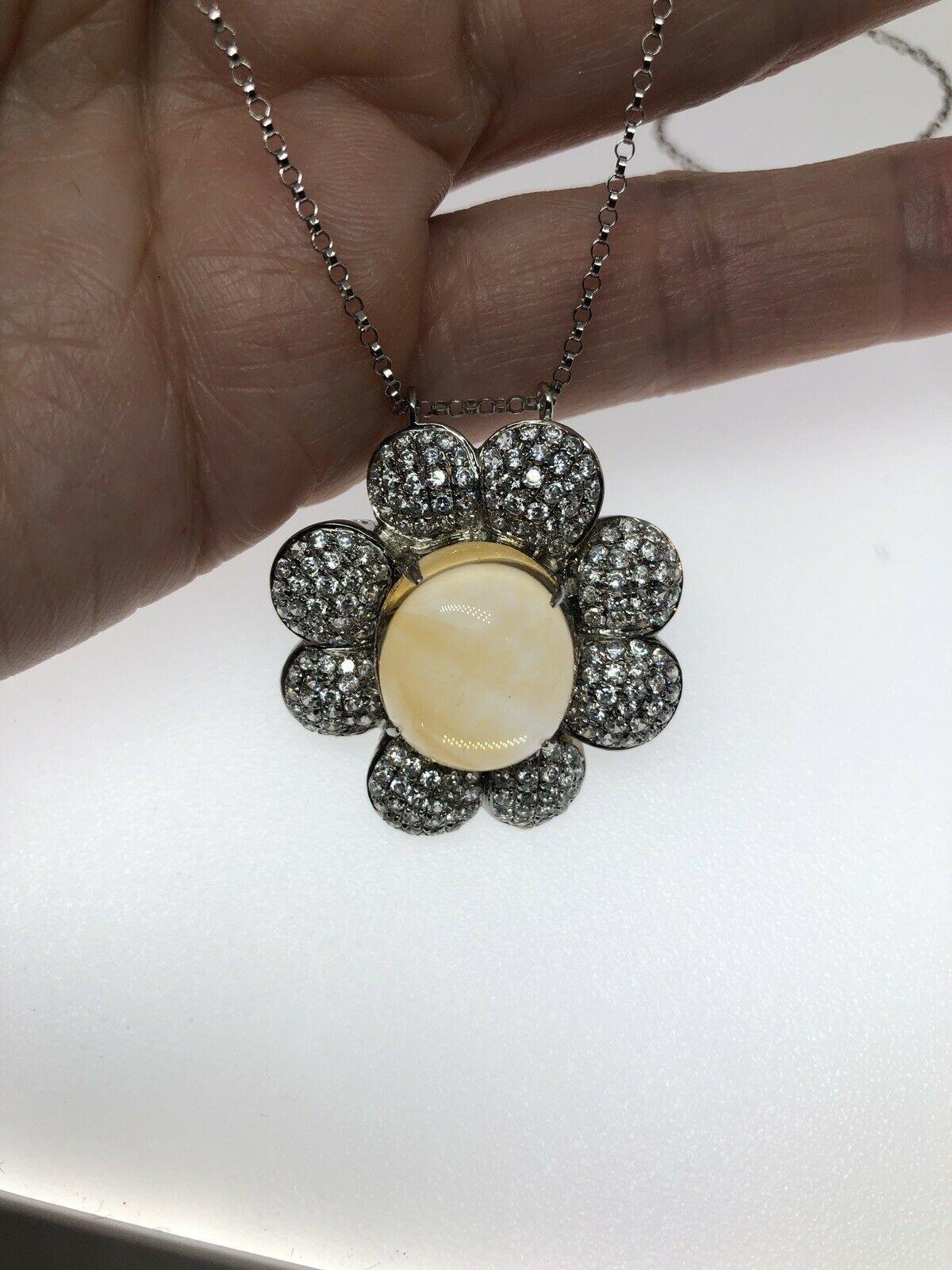 Vintage Citrine Choker Pendant Golden 925 Sterling Silver Deco Necklace
