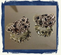 VTG Silvertone Filigree *Smoke/Black/Clear Rhinestones Cluster Pierced Earrings image 3