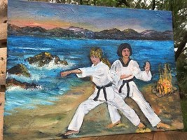 "Martial Arts Mentor & Student Oil Acrylic Art 12"" X 15 1/2"" Signed Shirl... - $44.10"