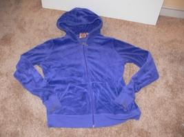 Juicy Couture Velour Hoodie Jacket Blue Pouch Front Pockets Sz XL ek - $19.99