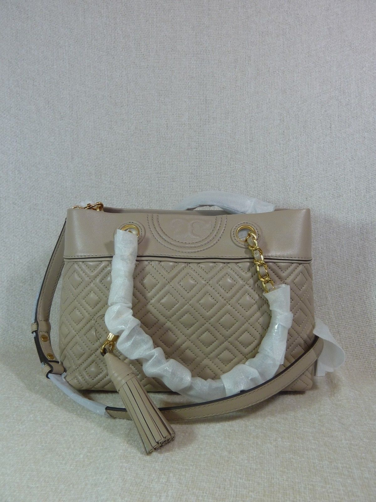 NWT Tory Burch Light Taupe Small Fleming With Tassel and Logo Tote $498