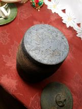 """VINTAGE HAND TURNED COVERED CLAY CANISTER / HUMIDOR 6.5"""" TALL WITH LID image 7"""