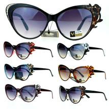 VG Eyewear Womens Rose Rhinestone Jewel Floral Fashion Unique Sunglasses - £7.06 GBP+