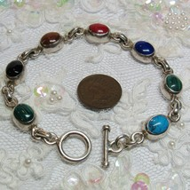 """MEXICO Sterling Silver 7.5"""" Toggle Clasp Bracelet Multi Color Stones  23... - $55.44"""