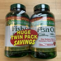 Natures Bounty Fish Oil 2-PACK! 180 Softgels X2 = 360 1200mg/360mg Omega... - $24.74