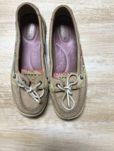 Sperry Womens Top Sider Angelfish Pink Floral Fabric Tan Leather Boat Sh... - $14.55