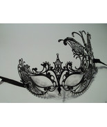 Black Crystal Butterfly Laser Cut Venetian Mask Masquerade Metal Filigree - $18.99