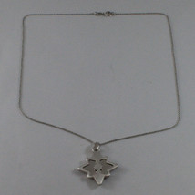 .925 SILVER RHODIUM NECKLACE WITH GLOSSY AND SATIN PENDANT. image 2