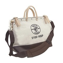 Klein Tools 5102-16SP Deluxe Canvas Tool Bag Made of Natural Canvas with 13 Inte - $74.99