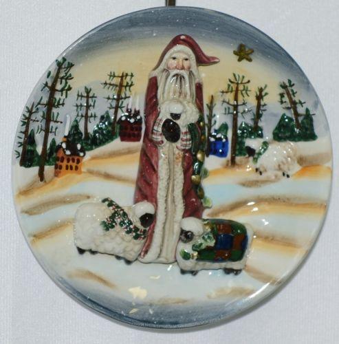 Ganz EX9307 Christmas Wall Plaque Sheep Crackle Ceramic