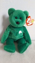 "1997 TY BEANIE BABY ERIN BEAR, 8.5"", WITH TAGS, GREEN LUCKY SHAMROCK, CH... - $4.94"