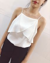 Spaghetti Strap Bridesmaid Tops Summer Wedding Women Chiffon Tops Petite Size image 1