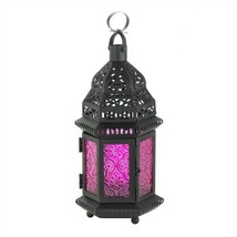 Dark Pink Glass Black Metal Moroccan Candle Lantern - $7.94