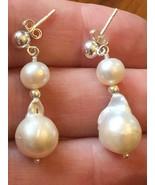 Genusis Freshwater Pearl Earrings Stud 7-11mm Sterling Baroque Round Gen... - $32.62