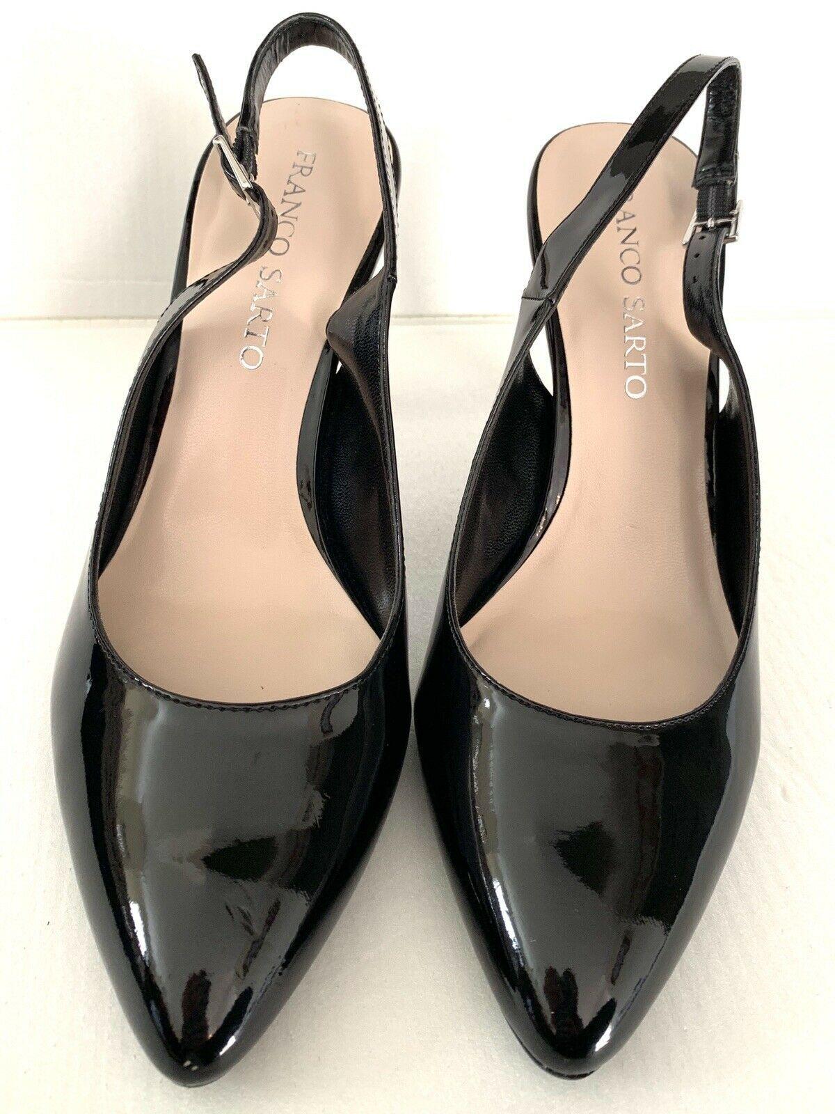 FRANCO SARTO Harla Black Patent Leather Slingback Pumps Heels SZ 8.5M image 4