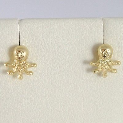 YELLOW GOLD EARRINGS 750 18K LOBE, SHAPED OCTOPUS, TRANSPARENCIES AND SATIN