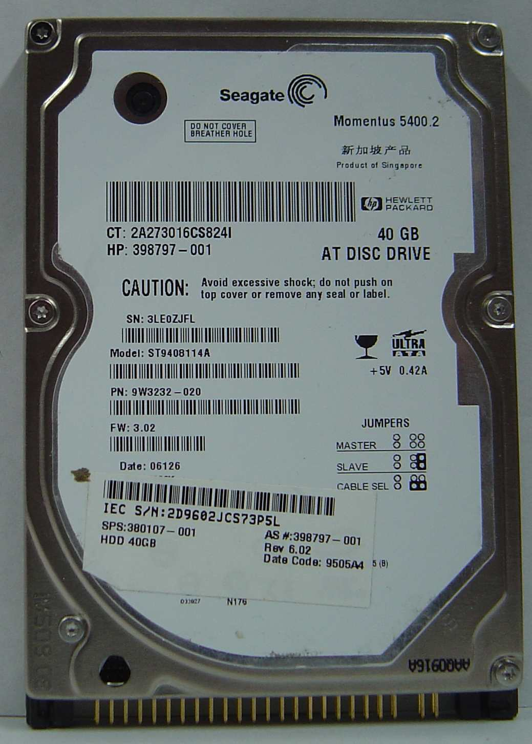 "Lot of 4 ST9408114A Seagate 40GB IDE 44pin 2.5"" 9.5mm Hard Drive Free USA Ship"