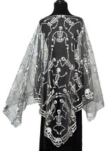 "Heritage Lace Pewter Skeleton Dance 58"" x 58"" Fine Lace Poncho One Size ... - £23.06 GBP"