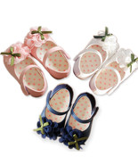 New Baby Girls Christening Shoes in White, Pink, Dark Blue  6 9 12 15 18... - $13.55