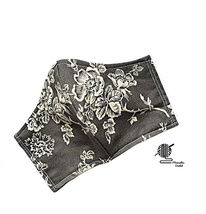 Face Mask Floral Grey Beige Flower 3 Layer Fitted Facemask Washable Hand... - $13.50