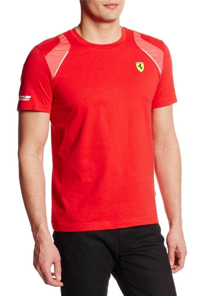 New Puma Men's Premium Rosso Corsa Ferrari Sf Shield T-Shirt Tee Red 761468