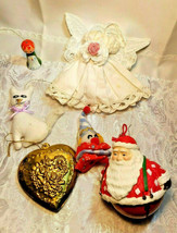 6 Vintage Christmas Ornaments Santa Bell Angel Cat Choir Singer Clown Heart