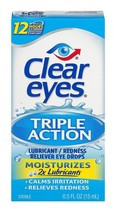 3 PACK Clear Eyes Triple Action Relief Lubricant Eye Drops .50oz/15ml 07... - $12.71