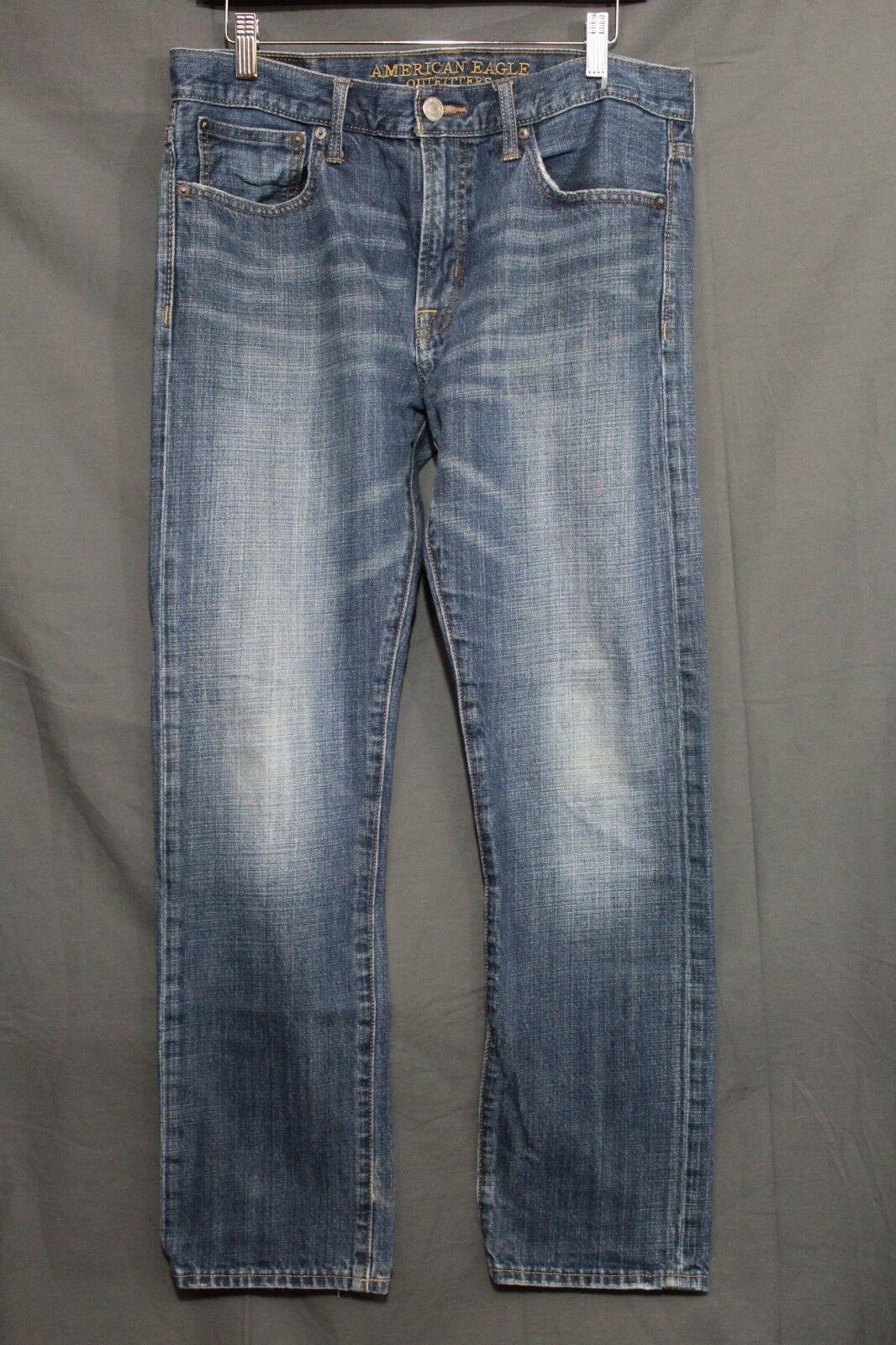 Men's AE Slim Jeans Faded Medium Blue Wash Distressed American Eagle 32 x 30