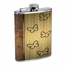 Rustic Butterfly Em2 Flask 8oz Stainless Steel Hip Drinking Whiskey - $279,96 MXN