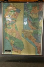 "Vintage 1989 Large Wall Thomas Bros California State Freeway Artery Map 68""x54"" image 1"