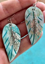 MOTHER of PEARL Blue etches LEAF EARRINGS with Silver Dangling Leaves  2... - $25.00