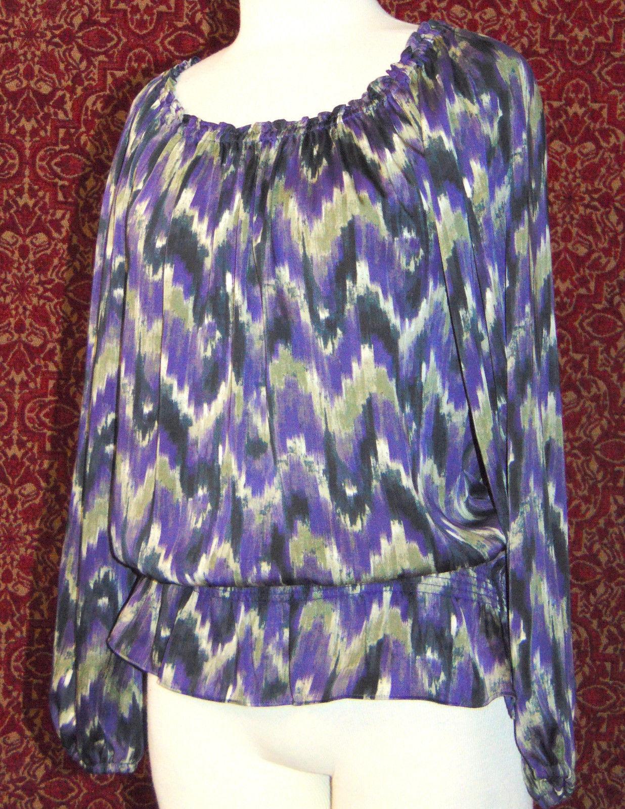 MICHAEL KORS purple polyester long sleeve blouse M (T47-01C8G)