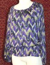 MICHAEL KORS purple polyester long sleeve blouse M (T47-01C8G) image 1