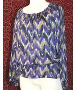 MICHAEL KORS purple polyester long sleeve blouse M (T47-01C8G) - $15.82