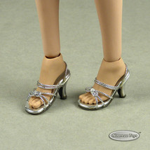 1/6 Phicen, TB League, Hot Toys, Cy & NT - Sexy Female Silver Strap Heels Shoes - $18.32