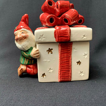 Vintage 1992 Fitz And Floyd Christmas Elves Trinket Box Wrapped Present Bow - $44.55