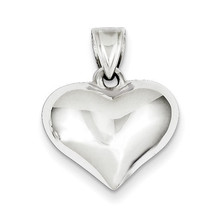 925 Sterling Silver 3-D Puffed Heart Solid Polished Charm Pendant - $23.31