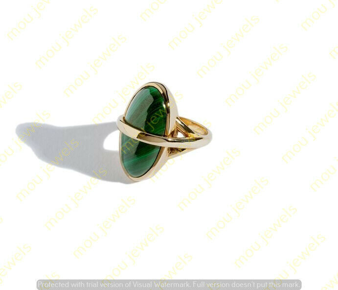 Primary image for Natural Green Malachite Solitaire Wedding Engagement Ring Sterling Silver 925