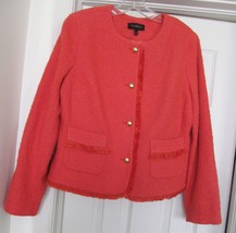 NEW TALBOTS JACKET COAT Woven Fringed Lined Poly/Wool Gold Tone Buttons ... - $68.95