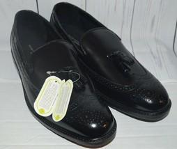 Bostonian Aland Bailey Black Slip-On Wingtip Tassel Leather Loafer Duralite 9 W - $89.09