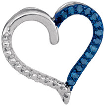 Sterling Silver Womens Round Blue Color Enhanced Diamond Heart Outline Pendant - $44.00