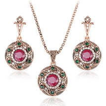 Luxury Turkey Jewelry Sets Vintage Necklace Earrings Set Plating Antique... - $14.21