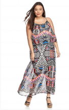 New Directions 1X Printed Popover Polyester Chiffon Fabric Maxi Dress  m... - $21.49
