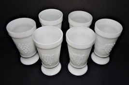 6 Anchor Hocking Vintage Footed Milk Glass Goblets Grapevine Grapes Wedding - $39.59