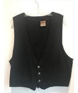 CHICO'S Womens LARGE Black Button Vest 100% Cotton  - $19.80