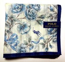 POLO Ralph Lauren Handkerchief hanky scarf bandana Blue Flowers Auth New - $23.76