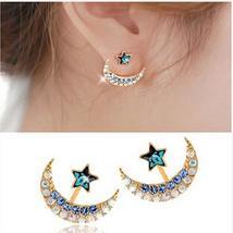Moon Star Earrings Women Filled Moon Star Shape Crystal Rhinestone Stud ... - $2.00