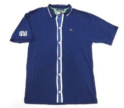 90s Tommy Hilfiger 45 Blue Button Up Polo Shirt Adult Size X-Large 100% ... - £25.55 GBP