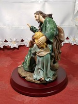 """Vintage """"Jesus Blessed Light"""" STATUE 9"""" On Wood Base HERCO GIFT PROFESSIONAL image 2"""