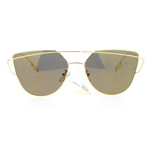 Retro Modern Sunglasses Womens Thin Wire Metal Flat Frame Mirror Lens - $11.95